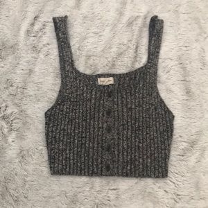 Button Up Sweater Crop Top